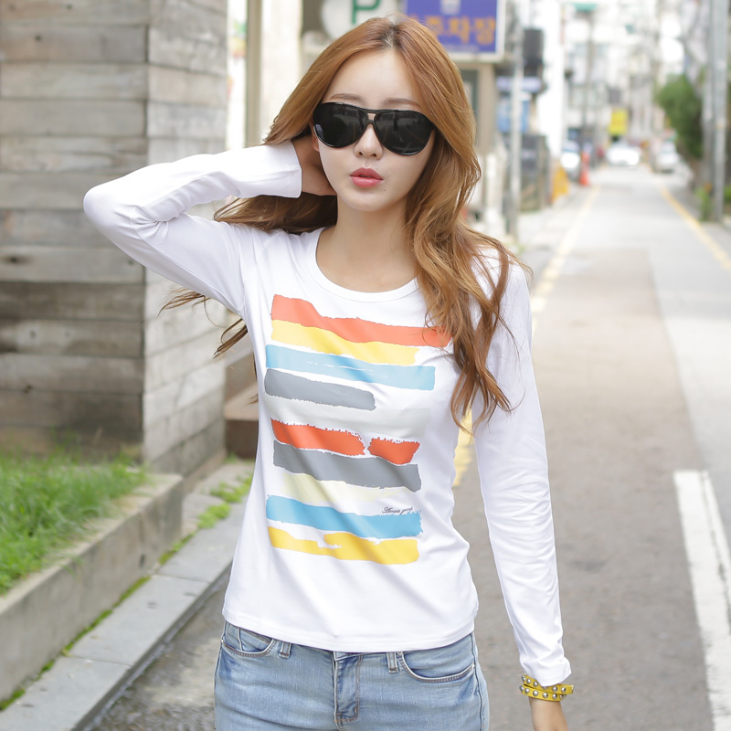 依她 长袖t恤女2013新款韩国女装秋装上衣潮修身打底衫女长袖纯棉 价格:49.00