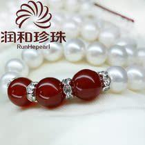 润和珠宝 如意绿玛瑙珍珠项链 9-10mm 近正圆天然珍珠送妈妈 正品 价格:508.80