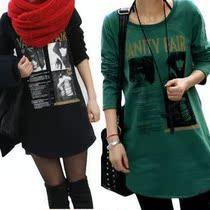 2013秋装新款韩版大码女装宽松胖mm女装中长款打底衫女士长袖t恤 价格:20.00