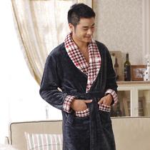 庆同秋季冬款法兰绒珊瑚绒睡衣男式加厚家居服睡袍浴袍包邮特价 价格:148.00