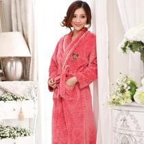 庆同秋冬季女款高贵加厚法兰绒珊瑚绒睡衣睡袍浴袍特价优雅包邮 价格:75.00