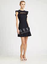 包邮 2013款美国代购正品Red Valentino黑色荷叶边短款百褶连衣裙 价格:3800.00