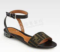 包邮 2013款美国代购正品Fendi帆布平跟脚踝绑带时尚百搭徽标凉鞋 价格:4500.00