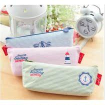 笔袋韩国大容量可爱韩国创意航海风条纹文具袋日本简约文具 价格:5.50