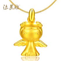 法莱雅 3D硬金999千足金天使宝宝全家福Q版可爱男女款黄金吊坠 价格:477.66