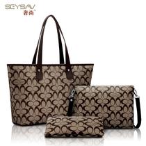seysav/奢尚 2013新款 潮 大牌印花手提单肩女包 子母包三件套装 价格:198.00