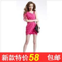 5056# 欧美修身斜领性感包臀一步裙 致命诱惑 价格:58.00