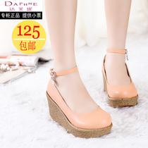 Daphne/达芙妮2013秋鞋松糕鞋厚底单鞋防水台高跟鞋坡跟牛皮女鞋 价格:124.80
