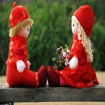 婚庆娃娃 压床娃娃结婚情侣公仔喜娃娃新婚礼物用品毛绒玩具一对 价格:63.00