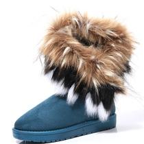 包邮超大仿狐狸毛雪地靴平底 反季特价中筒靴 女雪地靴冬靴 价格:78.00