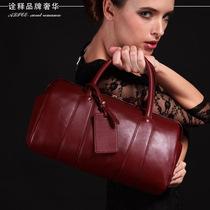 爱丽丝桶包 欧美大牌波士顿牛皮手提包 酒红色真皮女包女款枕头包 价格:498.00