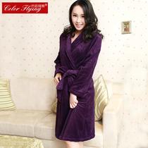 高贵紫色蜂巢珊瑚绒睡袍 女士秋冬季大码浴袍睡衣居家服特价包邮 价格:69.00