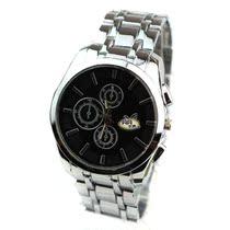 黑面三眼白带钢带手表 带金边靓丽精品男表 多种款式可供挑选 价格:100.39