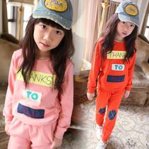 女童2013秋装新款童装 韩版字母贴布休闲运动儿童套装 T恤 长裤子 价格:88.00