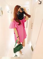 2013夏装新款 韩版女装 露肩花边袖连衣裙 T恤裙 价格:69.00