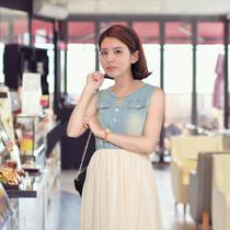 新2013夏季女装韩版修身水洗牛仔裙拼接雪纺v领 雪纺连衣裙 长裙 价格:258.00