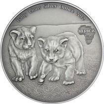 刚果共和国2012年非洲动物小狮子宝宝1盎司仿古纪念银币 价格:830.00
