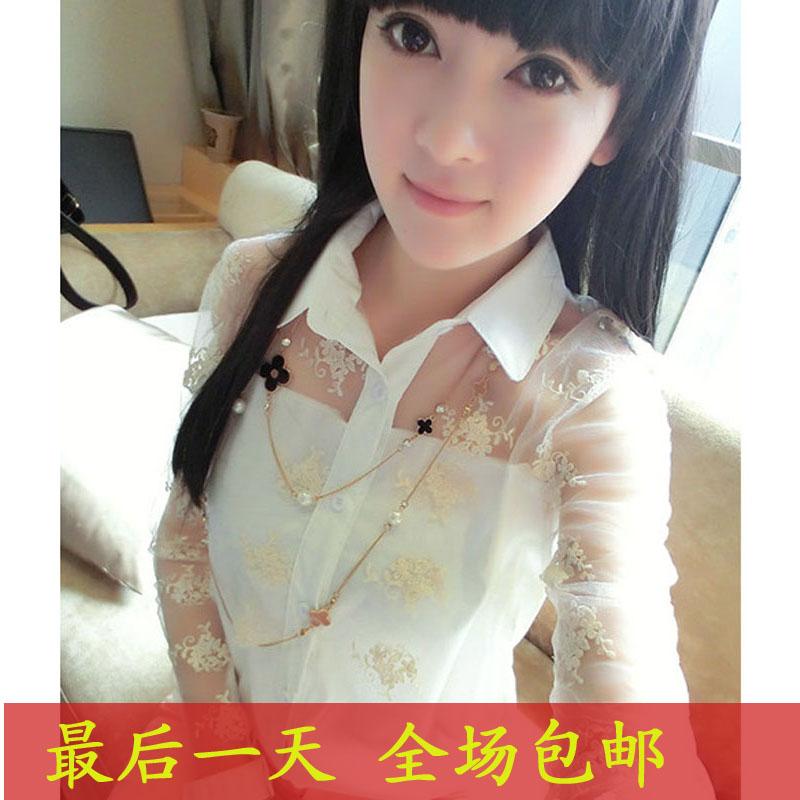 包邮衬衫女长袖韩版2013春装新款气质甜美蕾丝拼接透视衬衣 上衣 价格:30.00