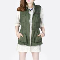 格瑞丝女装 秋装新款 时尚铆钉口袋工装马甲马夹外套 进口面料 价格:149.00
