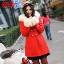 异惑 2013冬装新品 毛呢外套女 冬季修身毛领双排扣 呢子大衣 价格:99.00