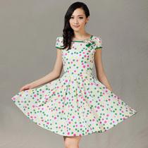 2013夏季新款女装 超大摆显瘦复古印花连衣裙 价格:518.00