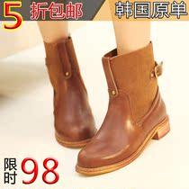 秋冬新款短靴 马丁靴韩版中跟女靴子中筒靴单靴 欧美站女式靴女鞋 价格:98.00