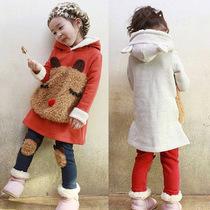 女童中小童加厚抓绒卫衣两件套装 小熊打底裤秋冬春款儿童装 价格:59.00