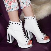 2013新款女靴单靴子女婚靴铆钉鱼嘴短靴粗高跟防水台定做大小码 价格:128.00