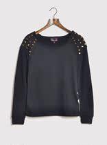 麦当娜女孩品牌欧美风原单帅气铆钉宽松长袖套头衫卫衣绒衫女大码 价格:65.00