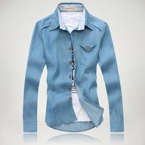 夏天薄款牛仔衬衫男长袖上衣 春秋天蓝色长袖衬衣 英伦学生男衬衣 价格:49.00