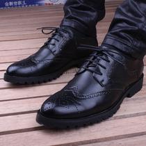 英伦雕花内增高鞋黑色男士皮鞋保暖复古布洛克鞋男鞋 韩版休闲鞋 价格:117.00
