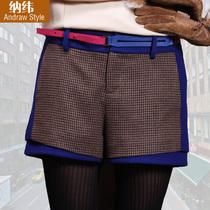 纳纬 秋冬羊毛短裤女千鸟格 2013新款靴裤 休闲短裤大码显瘦 价格:149.00
