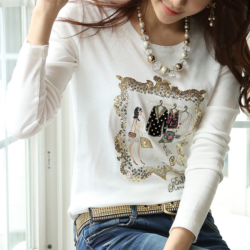 2013秋装新款 韩版修身圆领白色长袖T恤女 纯棉百搭女士打底衫 价格:49.00