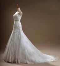 2013新款婚纱礼服  修身显瘦 收腰鱼尾蕾丝拖尾镶钻 WD-401 价格:682.20