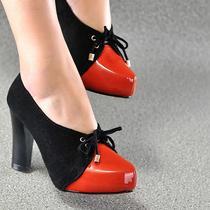 欧美帅气范儿复古拼色绑带粗跟单鞋优雅马蹄跟超高跟女鞋 价格:148.00