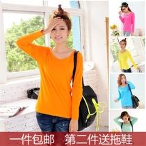1件包邮韩版秋新款女装打底衫纯色纯棉长袖低圆领修身T恤大码糖果 价格:21.98
