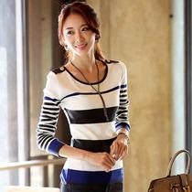 2013秋装新款 韩版修身圆领针织衫显瘦长袖女T恤 打底衫女 T恤 价格:49.00