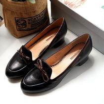 原单牛货!英伦学院风外贸小牛皮大码真皮女单鞋工作鞋37-4041码 价格:168.00