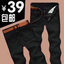 2013秋冬新款美特斯邦威直筒修身牛仔裤男宽松长裤黑色韩版潮包邮 价格:39.00