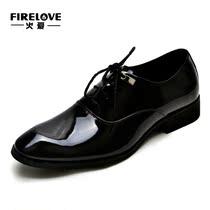 商务头层皮男正装鞋新郎结婚皮鞋男士系带英伦潮尖头漆皮37码男鞋 价格:188.00