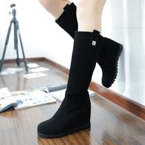 2013秋冬季新款中长靴子女棉靴 内增高中筒靴 磨砂真皮高筒靴鞋子 价格:208.00
