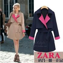 ZARA女装代购 2013秋装新款欧美大牌修身中长款高端女式风衣外套 价格:239.90