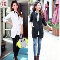 女秋装2013新款韩版小西装 时尚修身假两件风衣 衬衣领风衣2件套 价格:118.00