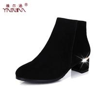 2013秋冬新款短靴子女粗跟真皮女靴单靴欧美复古及裸靴冬靴马丁靴 价格:168.00