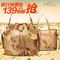 纽芝兰韩版2013新款女包水桶包 韩国单肩斜跨女包 牛皮包地图包包 价格:118.00