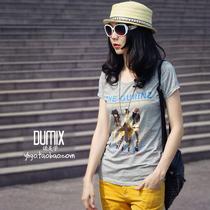 夏日涂鸦 2013欧洲站最新款t恤 码女装胖mm夏装短袖修身欧美风 价格:49.70