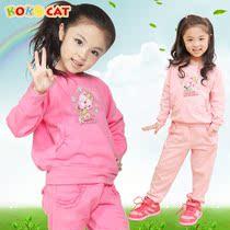 秋季新品KOKOCAT童装卡通女童秋装套装韩版中大童儿童运动套装 价格:89.00