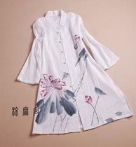 棉麻宫e夏装民族风女装原创设计薄棉麻手绘中长款七分袖开衫上衣B 价格:158.00