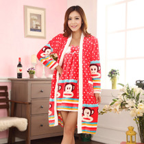 冬季新款睡衣法兰绒吊带睡袍两件套 价格:109.00