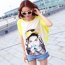 夏装新2013女装宽松大码显瘦 蝙蝠袖衫雪纺拼接高端印花 短袖T恤 价格:19.99